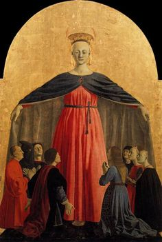 Piero della Francesca - Madonna della Misericordia - of Mercy) Pinacoteca comunale, Sansepolcro Fun fact: noblewomen, during the middle ages and the renaissance, used to keep some. Renaissance Kunst, Renaissance Paintings, Baptism Of Christ, Italian Paintings, Dunhuang, Italian Artist, Medieval Art, Sacred Art, Western Art