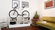 Chol bike storage furniture is must have for small apartments Bike Storage Small Space, Indoor Bike Storage, Bicycle Storage, Small Storage, Storage Shelves, Bike Storage Home, Bike Storage Furniture, Furniture Design, Multifunctional Furniture