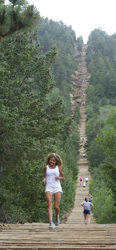 The Manitou Incline near Colorado Springs, Colorado is said to be one of the most challenging and unique trails in the Country. Olympic athletes and military personnel train on this vertical wonder that gains 2,000 feet in elevation over less than 1 mile. WE'RE ON PINTEREST BABY!!!
