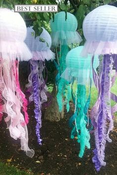 Jellyfish lanterns hanging decoration pink purple or aqua