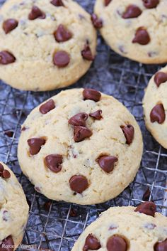 Happiness is a plate of these soft chocolate chip sugar cookies right out of the oven! Loaded with mini chocolate chips these cookies are a favorite treat!