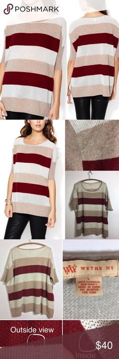 Wythe Perforated Stripe Oversized Cashmere Sweater Wythe NY Perforated Stripe Oversized Cashmere Sweater Color: Burgundy/ Heather Camel Combo Description: Knit cashmere oversized sweater Scoopneck Perforated and graphic stripe throughout Dropped shoulder seam Ribbed trim throughout Tonal top stitching and panel seaming Care: Dry clean only Material: 100% cashmere Brand: Wythe NY Condition: new with flaw. I mended a small hole in the back (pictured). Wythe NY Sweaters