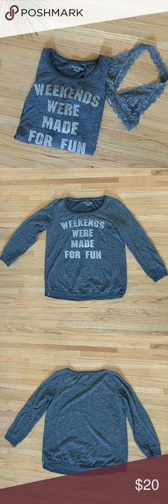 🆕 DREAMR | Dark Gray Inside Out Style Sweatshirt Get ready for the weekend with this trendy sweatshirt. Super comfy and light weight. Sweatshirt is designed inside out. Worn but in good condition. This sweatshirt goes great with a pair of Uggs and leggings.  • 50% polyester • 50% rayon  Open to offers! 😘 DREAMR Tops Sweatshirts & Hoodies