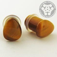 Single Flare Yellow Tiger Eye Teardrop Plugs by Oracle Body Jewelry