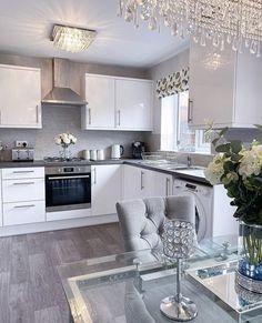 Open Plan Kitchen Living Room, Kitchen Room Design, Home Decor Kitchen, Home Living Room, Kitchen Interior, Living Room Designs, Small Kitchen Diner, Best Kitchen Designs, Küchen Design
