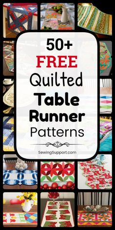 Sew quilted table runners with this collection of over fifty free quilted table runner patterns and tutorials. Quilted Table Runners Christmas, Table Runner And Placemats, Quilt Placemats, Christmas Tables, Table Topper Patterns, Quilted Table Toppers, Quilted Placemat Patterns, Quilt Patterns Free, Quilting Board