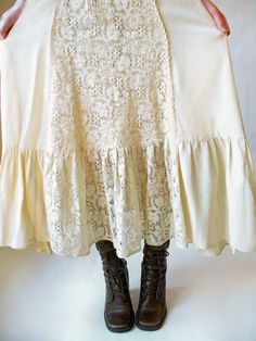 Cream Gunne Sax Peasant skirt and lace boots