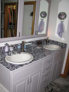 Plum Brule 3 4 X Gl Tiles As A Bathroom Countertop