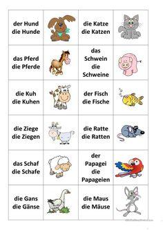Tiere-Memospiel - New Ideas German Grammar, German Words, Learn German, Learn French, German Resources, Deutsch Language, Singular And Plural, German Language Learning, French Lessons