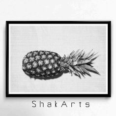 Pineapple Wall Black White Ananas Print Tropical Wall by ShakArts