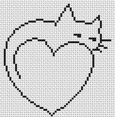 Cat, free cross stitch patterns and charts - www. - Cat, free cross stitch patterns and charts – www.free-cross-st… La mejor imagen sobre healthy e - Cat Cross Stitches, Cross Stitch Heart, Simple Cross Stitch, Cross Stitch Animals, Cross Stitching, Cross Stitch Embroidery, Embroidery Patterns, Hand Embroidery, Easy Stitch