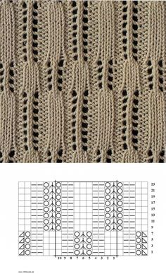 1000 Strickmuster » 011 | teixits calats | Постила Lace Knitting Stitches, Lace Knitting Patterns, Knitting Charts, Arm Knitting, Stitch Patterns, Beginner Knitting Projects, Knitting For Beginners, Knit Crochet, Couture