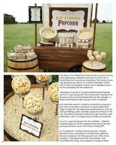 Popcorn Bar-various popcorns (buttered, caramel), candy toppings (m&m;'s, peanuts) and lots of seasonings (chile lime, white cheddar powder) yumm! Popcorn Stand, Popcorn Bar, Scout Popcorn, Popcorn Station, Reception Food, Wedding Reception, Party Centerpieces, Candy Buffet, Dessert Table