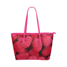 Raspberries Leather Tote Bag/Small. FREE Shipping. #artsadd #bags #fruits