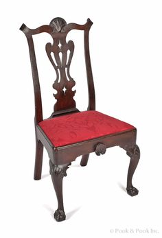 Pook & Pook.  April 19th & 20th 2013. Lot 450   Estimated: $4K - $6K. Realized Price: $2370. Philadelphia Chippendale mahogany dining chair, ca. 1770, with a shell carved crest and pierced splat, above a shell carved frame, supported by cabriole legs terminating in ball and claw feet.