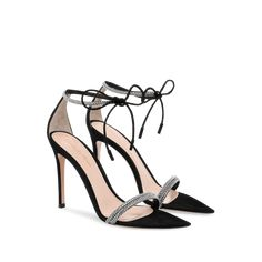 Light strikes, refracting in countless directions by the Montecarlo sandal's crystals, embedded in the tubular straps and ankle tie for a three-dimensional effect. Made of black suede, this pointed toe sandal is set on a stiletto heel. Black Heels, Black Suede, High Heels, Ankle Strap Sandals, Shoes Sandals, Givenchy Heels, Jimmy Choo Sunglasses, How To Look Rich, Oxford Heels