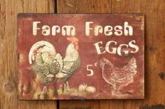Country Primitive Farmhouse Chic FRESH EGGS Chicken Rooster Tin Sign Plaque