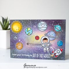 Hello, I'm back for an extra day this week with a space themed birthday card.     My nephew turns 3 next month and has recently become fasc...