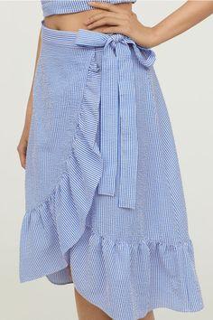 Seersucker Wrapover Skirt - Blue/white striped - Ladies | H&M CA 2