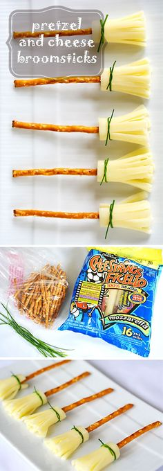 Cheese and Pretzel Broomsticks Halloween Treat: Cheese and Pretzel Broomsticks. These are so easy and such a cute idea for a Halloween themed treat! The post Cheese and Pretzel Broomsticks appeared first on Halloween Treats. Halloween Desserts, Buffet Halloween, Recetas Halloween, Soirée Halloween, Hallowen Food, Halloween Food For Party, Halloween Birthday, Halloween Recipe, Halloween Snacks