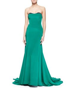 Embellished-Sweetheart-Neck Strapless Gown by Lela Rose at Neiman Marcus.