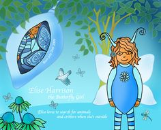 Personalised Butterfly Girl Fairy Illustration by Marghanita Hughes: www.marghanita.com