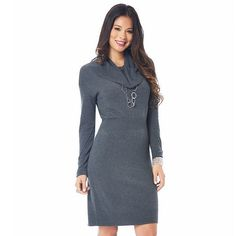 daisy fuentes® Cowlneck Sweater Dress - Women's