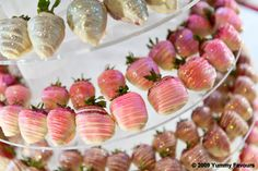 White chocolate strawberries with hot pink and magenta edible glitter