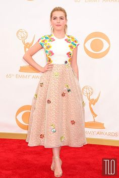 """Mad Men"" star Kiernan Shipka attends the 2013 Primetime Emmy Awards held at Nokia Theatre L.A. Live in Los Angeles, California in a Delpozo dress paired with Jimmy Choo sandals and EF Collection ring."