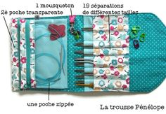 Image of Tutoriel de la Pochette de rangement Penelope Sewing Projects For Beginners, Knitting Projects, Sewing Tutorials, Crochet Tutorial, Couture Main, Knitting Needle Storage, Diy Pochette, Craft Bags, Sewing Accessories