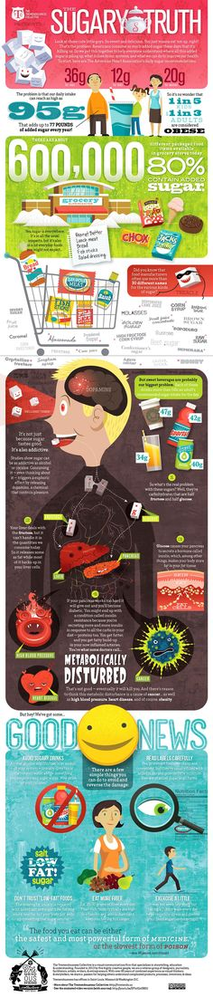 Effects of Too Much Sugar on the Body - Health infographic. Topic: obesity, diabetes, glucose, fructose, sweet food and sweeteners.