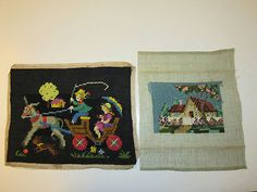 2-Vintage-Finished-Needlepoint-Picture-10-034-KIDS-IN-HORSE-DRAWN-CART-amp-5-034-COTTAGE