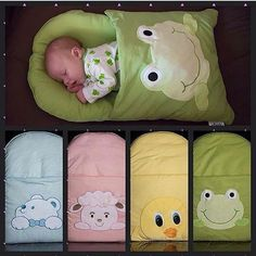 Saco de dormir bebê - HOW CUTE! Sleeping Bag for Baby with a really cute applique! - I think this might be pretty easy to make for a gift or for your own baby! The Babys, Baby Kind, Baby Love, Diy Bebe, Baby Sewing Projects, Sewing Tips, Diy Projects, Baby Crafts, Baby Patterns