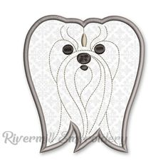 Maltese Face Applique Machine Embroidery Design