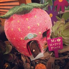 If you need me I will be in this cute strawberry having tea with a fairy #myhappyplace #fairygarden . . . . . #catchingfireflies #annarbor #kerrytown #visitannarbor #berkleymi #downtownberkley #rochestermi #downtownrochester #shoplocal #shopsmall #whimsicalgifts #fairygardenfun #welovefairies #fairy