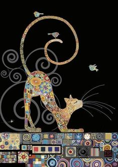 Love the use of different swatches to make the colours of this cat. Cat Drawing, Bug Art, Cat Quilt, Cat Design, Jolies Images, Gustav Klimt, Animals Images, Applique Quilts, Mosaic Art