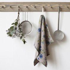 Natural Summer Flowers Linen Tea Towel