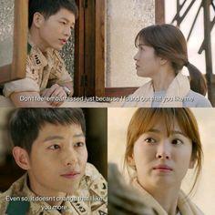 Song Joong-ki as Yoo Shi-jin and Song Hye-kyo as Kang Mo-yeon Descendants of the sun Song Joong Ki Dots, Descendants Of The Sun Wallpaper, Song Hye Kyo Descendants Of The Sun, Desendents Of The Sun, Song Joon Ki, Sun Song, Best Kdrama, Songsong Couple, Korean Drama Quotes