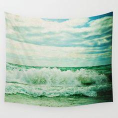 ocean art, beach house decor, wall tapestry, the sea, waves, seascape, decor
