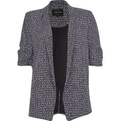 River Island Black print ruched sleeve blazer (1,805 MXN) ❤ liked on Polyvore featuring outerwear, jackets, blazers, coats, black, coats / jackets, women, print blazer, tall jacket y pattern jacket