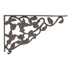 An ornate but sturdy bracket in an aged rust finish, the hummingbird shelf brackets add a touch of nature to your shelves design. Dimensions: x Flange is thick. Decorative Metal Shelf Brackets, Wrought Iron Shelf Brackets, Large Shelves, Metal Shelves, Iron Wall, Metal Wall Art, Making Shelves, Kitchens