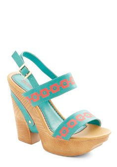 San Diego by Day Heel - High, Faux Leather, Mixed Media, Blue, Print, Party, Daytime Party, Boho, Festival, Good, Platform, Wedge, Coral