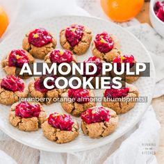 Thumbprint almond pulp cookies are the easiest and tastiest way to use leftover almond pulp from homemade almond milk - a gluten-free & vegan recipe using almond pulp and oat flour. Chocolate Almond Milk, Homemade Almond Milk, Chocolate Cookie Recipes, Almond Meal Cookies, Milk Cookies, Just Desserts, Delicious Desserts, Dessert Recipes, Gluten Free Baking