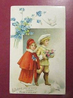Embossed Boy and Girl, Wishing You A Very Happy Birthday, Postmarked 1909