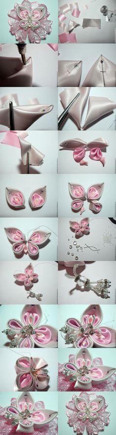 Цветок из атласной ленты пошаговая инструкция