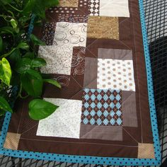 Blue and brown quilted  table runner featuring by countrybydesign, $29.50
