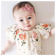 [Sunday morning cutenessBaby Audrey is adorable in our August dusty pink bow. Hope you all have a beautiful day]