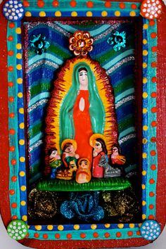 Virgin Mary Box frame Mexican style.