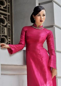 Home :: Traditional Ao Dai :: Pink :: Pink Traditional Ao Dai TP181