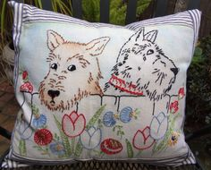 Shabby Chic Vintage Scotty Dogs Pillow by VintageEncore on Etsy, $45.00
